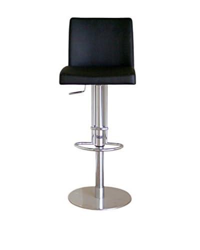 Baxton Studio Adjustable Swivel Leather Barstool, Black