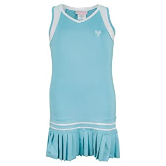Buy Girls` Pleated Tennis Dress Aqua With White Trim by Little Miss Tennis