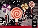 Set of 4 LED Glittering Lollipops Synchro Lightshow Christmas Pathway Markers - Color Changing