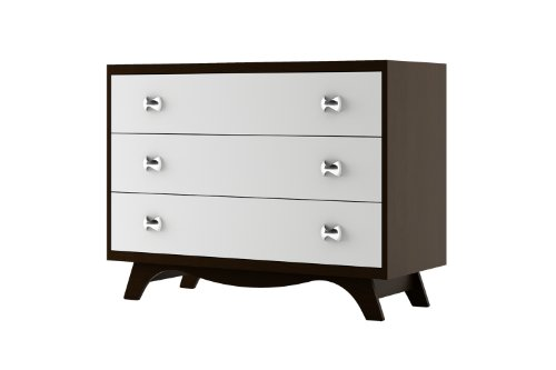 Dutailier G03832 Three Drawer Dresser, Espresso/White