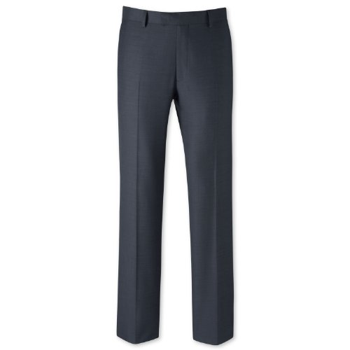 Charles Tyrwhitt Blue sharkskin tailored fit travel suit trouser (38W x 32L)