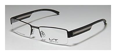 Lightec 7142l Mens Rx-able Stylish Rectangular Half-rim Eyeglasses/Glasses
