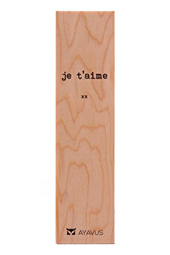 Je T'aime - I Love You in French Wood Bookmark French Wooden Bookmarks Hipster Minimalist Quotes Valentines Day Romance Gift