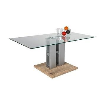 HL Design, Tavolino da salotto Marie con piano in vetro, spessore 8 mm, Trasparente (Transparent)