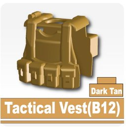 B12 Tactical Vest (Dark Tan) - Custom Minifigure Piece