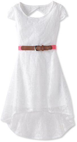 Amy Byer Girls 7-16 Lace Hi Low Belted Dress, White, 14