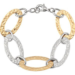 Stainless Steel Amalfi Immersion Plated Stainless Steel Hammered Oval Link Bracelet: 8 Inch