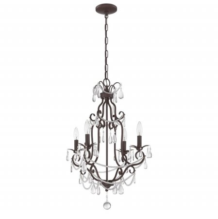 Perfect Craftmade C ATL Light Mini Chandelier in Antique Linen With Clear Crystal Glass