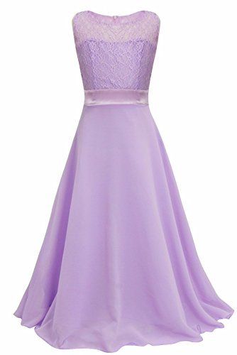 iEFiEL Big Girls Lace Chiffon Bridesmaid Dress Dance Ball Party Maxi Gown Lavender 6