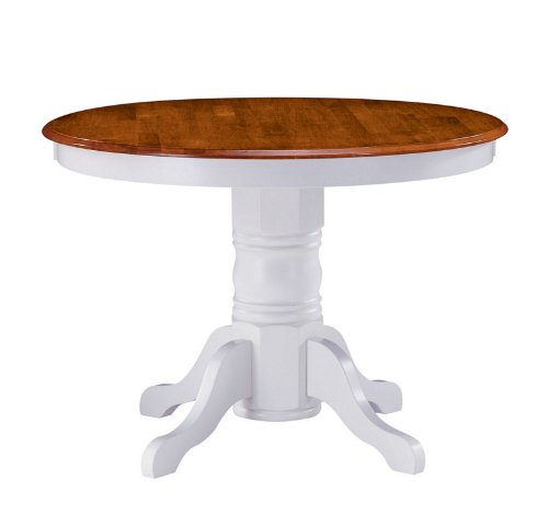 Home Styles Pedestal Casual Dining Table in Off White and Cottage Oak Finish