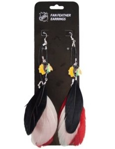 Chicago Blackhawks Team Color Feather Earrings