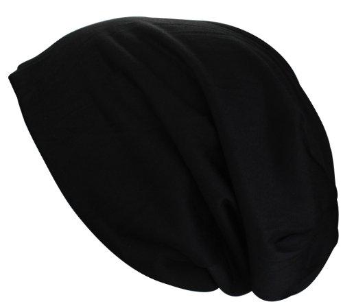XL Jersey Long Beanie in nero, grigio e verde menta colore azzurro estivo salmone rosso cappello/berretto Primavera, Nero (nero), taglia unica