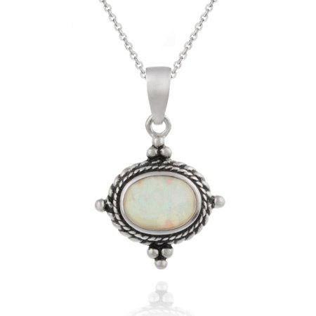 Sterling Silver Bali Design Pendant with Opal Stone