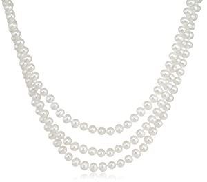 3-Row White A Grade Freshwater Cultured Pearl Necklace with Sterling Silver Clasp (6.5-7mm ), 17