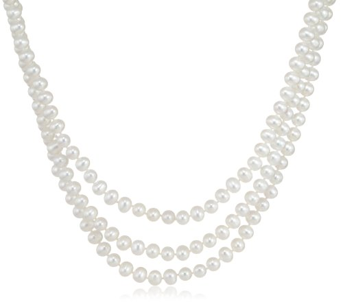 3-Row White A Grade Freshwater Cultured Pearl Necklace with Sterling Silver Clasp (6.5-7mm ), 17&#8243;, 18&#8243;/19&#8243;