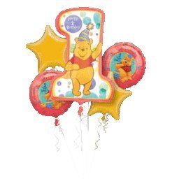 Imagen de Winnie the Pooh primero ramo de globos de cumpleaños