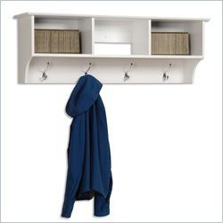 Entryway Cubbie Shelf Coat Hanger in White Finish