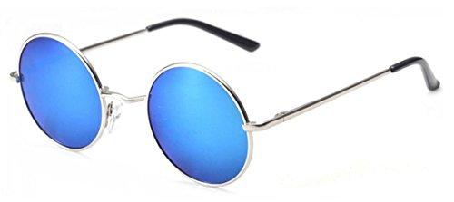 Unisex Metallo Telaio Occhiali da sole rotondi Hippie sfumature retro John Lennon stile (Blu)