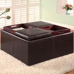 SQUARE LEATHER OTTOMAN COFFEE TABLE SQUARE LEATHER OTTOMAN Square