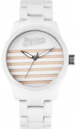 Jean Paul Gaultier 8501102 - Orologio da polso unisex, cinturino in silicone colore bianco