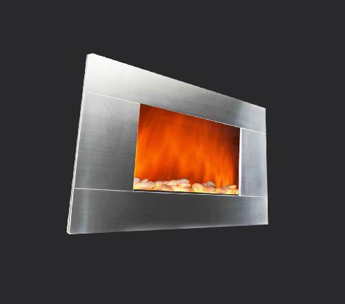 36-Inch Electric Wall Mount Fireplace Heater W/Remote Control and Pebble image