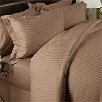 Luxurious TAN Damask Stripe, QUEEN Size, 1000 Thread Count Ultra Soft Single-Ply 100% Egyptian Cotton, Extra Deep Pocket Four (4) Piece Bed Sheet Set with 2 Pillow Cases1000TC