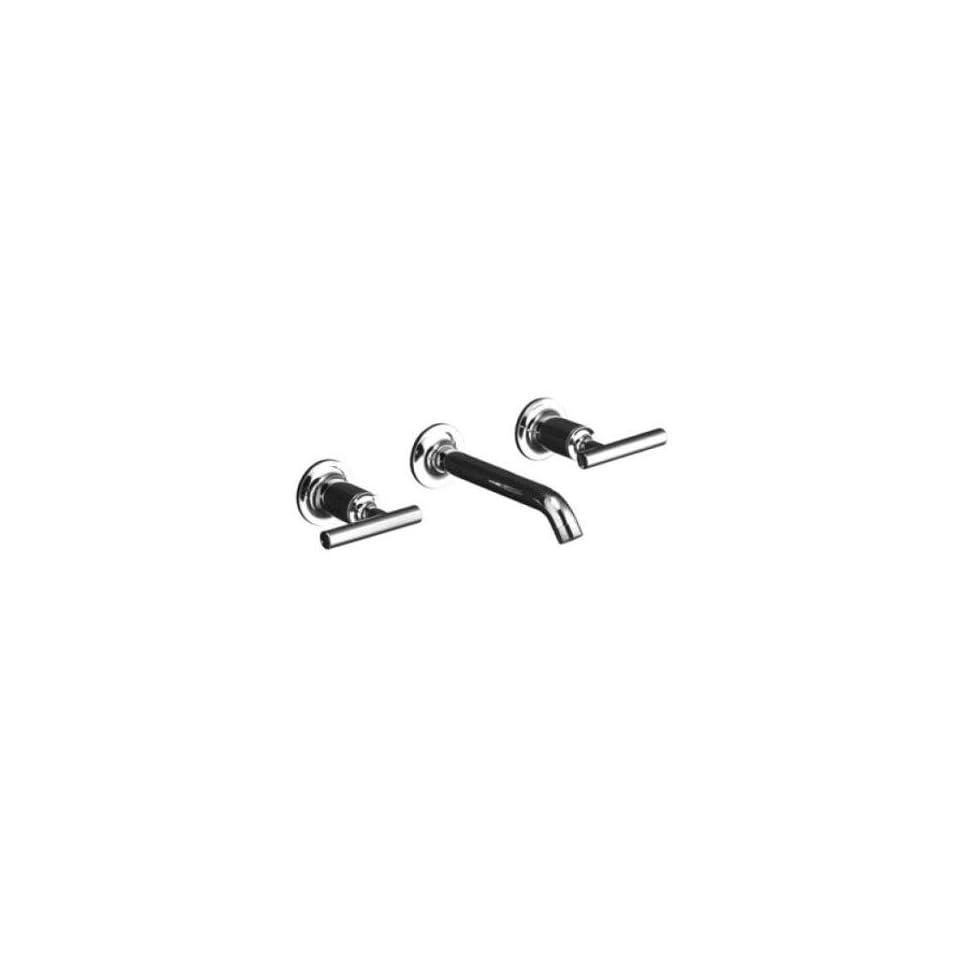 Kohler Purist Polished Chrome Wall Mount Bathroom Sink Faucet, 6 1/4 Spout+Cylinder Lever Handles