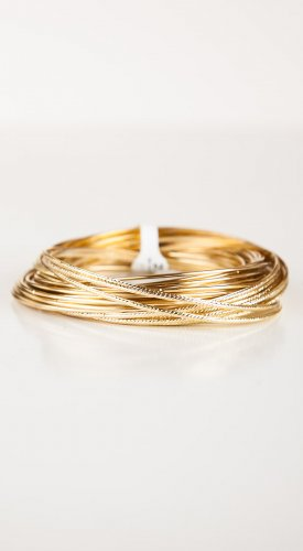 Zad Jewelry Set of 38 Gold Metal Interlocking Bangles (B4704) - Gold