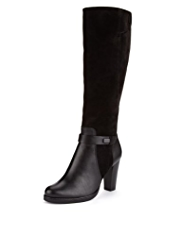 Autograph Leather & Suede Wide Fit Stretch Zip Biker Knee Boots with Insolia®