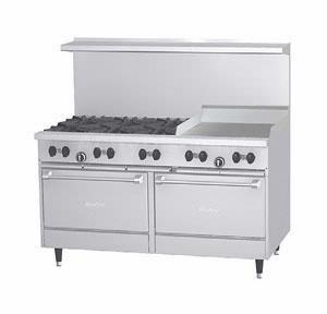 Garland G60-6G24Rr 60 Gas Restaurant Range 6 Burners 2 Std. Ovens 24 Griddle
