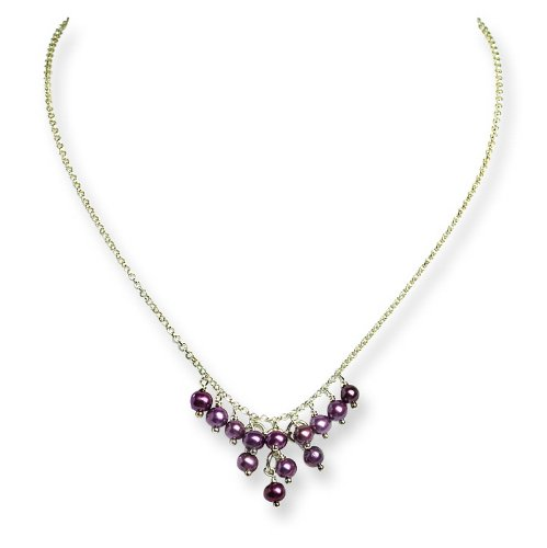 Sterling Silver Violet Freshwater Cultured Pearl Necklace. 16in long.