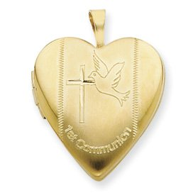 Genuine IceCarats Designer Jewelry Gift 1/20 Gold Filled 20Mm 1St Communion Heart Locket