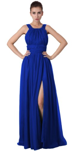 Beautifly Women's Halter High-slit Chiffon Full-length Evening Gown Maxi Dress