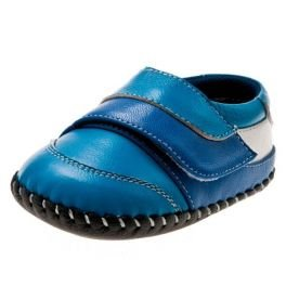 Little Blue Lamb - Baby boys first steps soft leather shoes | Blue sneakers