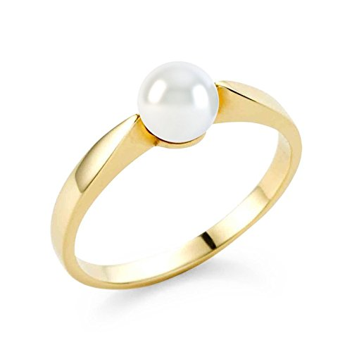 21DIAMONDS Women's Ring Sophia 21PREMIUM White Fresh Water Pearl and Pearl Bead Engagement Ring-14ct Yellow Gold Engagement Ring