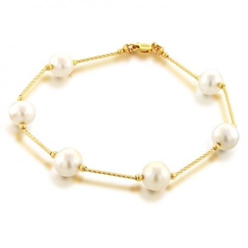 Bling Jewelry 14k Yellow Gold Bar Freshwater Pearl Tin Cup Bracelet 7