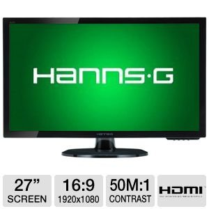Hannspree Hanns.G Hl273Hpb 27-Inch Widescreen Led Monitor Full Hd 1080P W/Hdmi & Speakers