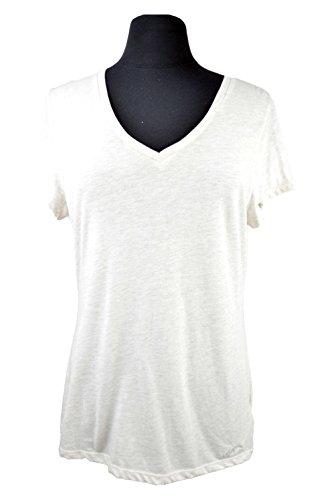 Tommy Hilfiger Womens V Neck Short Sleeve printed Shirt, Beige, XL