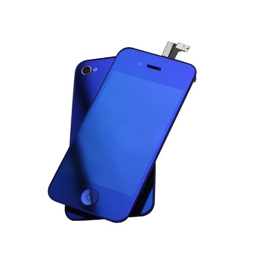 Blue Plated Mirror Lcd Screen, Digitizer And Back Cover For Iphone 4 4G Cdma
