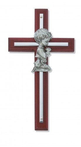 Silver Boy Wall Cross Cherry Stained Wood 6 in Nursery Decor Baby - 1