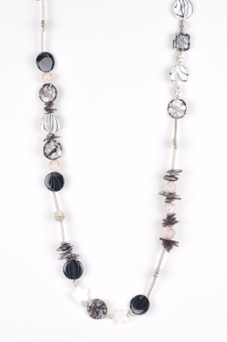 Long Beaded Necklace in Black, White & Silver Handmade in Africa by Me'Lani