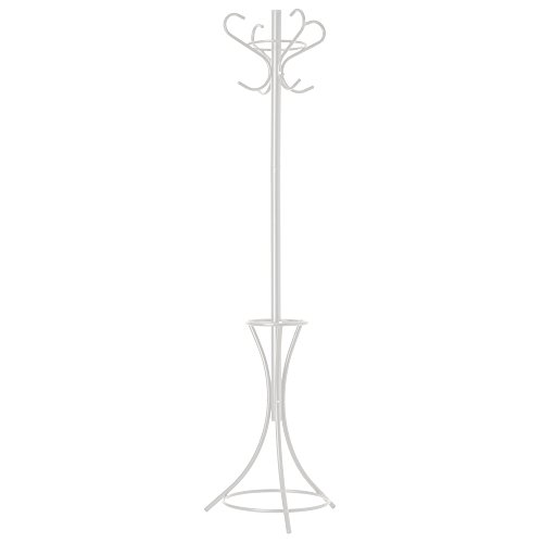GrayBunny GB-6797 Metal Coat Rack, Hat Stand, Umbrella Holder, Hall Tree, White, For Home or Office