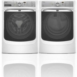 Maytag Maxima XL Front Load Steam Washer and Steam Dryer SET (Electric Dryer) in White