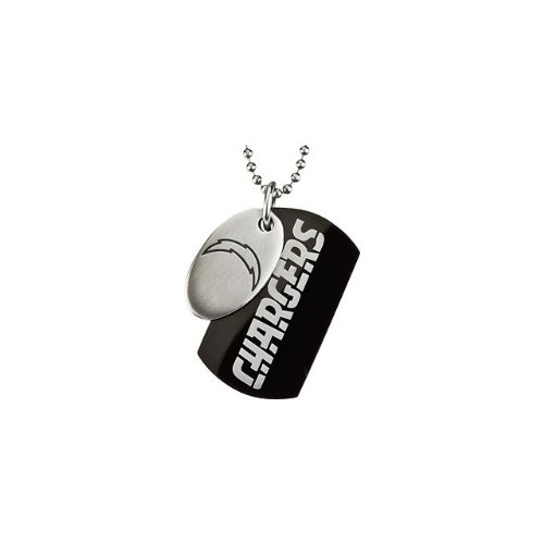 2 St Steel 45mm San Diego Chargers NFL Football Team Jewelry Men 2 Dog Tag W/Chain