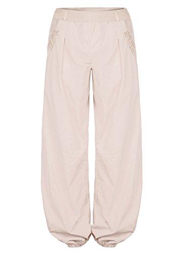 BAISHENGGT Pantaloni Baggy allentati con tasche laterali Harem Pants - Donna Beige Small