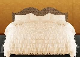 400Tc Solid Ivory Full Ruffle Duvet Set 100% Egyptian Cotton front-888318