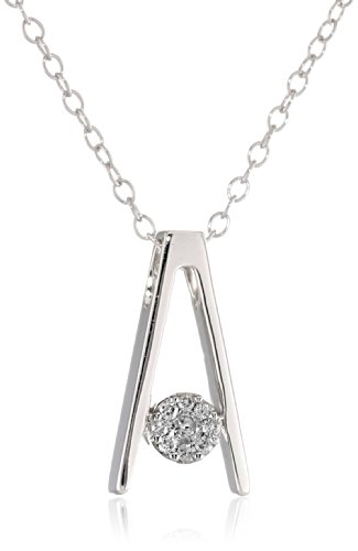 Sterling Silver Diamond Floating Cluster Pendant Necklace (1/10 Cttw, I-J Color, I2-I3 Clarity), 18""