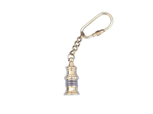 "Hampton Nautical  Solid Brass Oil Lamp Key Chain, 4"", Solid Brass"