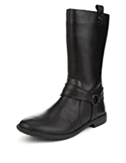 Leather Panelled Calf Length Boots