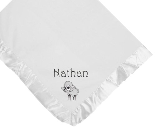 Lamb White Soft Fleece Embroidered Personalized Baby Blanket - Custom Embroidery Navy Thread front-1003959